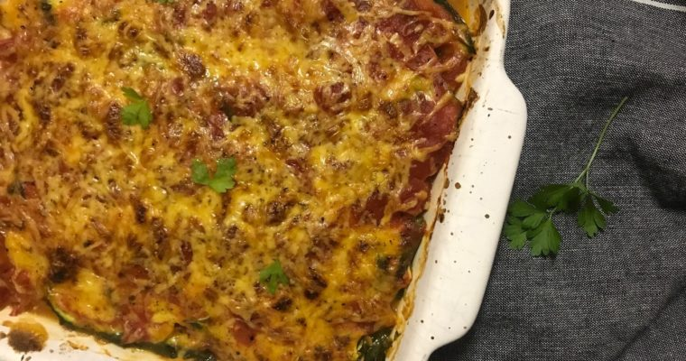 Low Carb Chicken & Spinach Zucchini Lasagne